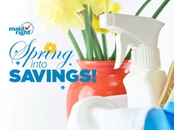 "Cleaning spray bottle with flowers and text that says ""Spring into Savings"""