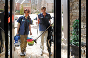 Two Maid Right team members arriving to complete a cleaning service