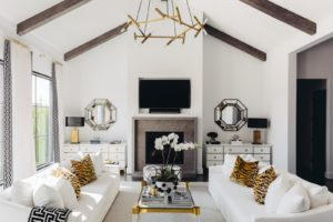 Living room with high vaulted ceilings and a white couch